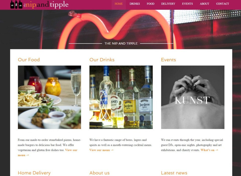 Nip and Tipple Bar: Client Website